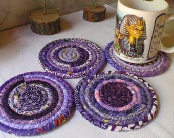 Purple Bohemian Coiled Fabric Coasters - Set of 4 - Kitchen, Entertaining, Hostess Gift