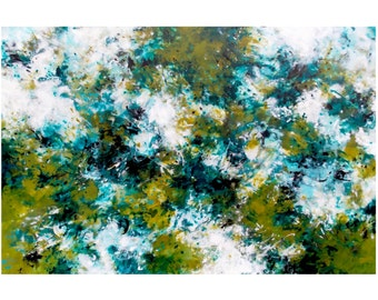 SALE Large Abstract Expressionist Painting, Original Acrylic on 24x36 Canvas Modern Wall Art Contemporary Home Decor, black white green blue