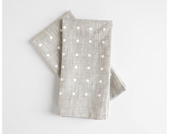 White Dots Napkins - Set of 2 - Linen Napkins - Polka dots napkins for your dinner table, baby shower or wedding - Free Shipping to USA.
