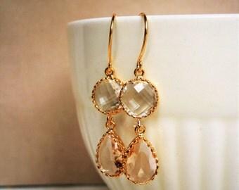 Clear Crystal Diamond, Blush Champagne Earrings, Gold Earrings,  Bridal Jewelry, Bridesmaid Earrings, Best Friend Birthday