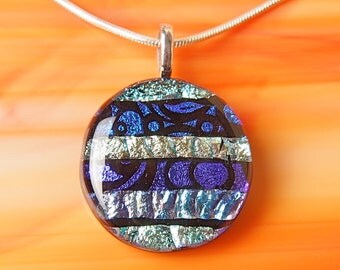 Handmade Dichroic Fused Glass Silver Pendant Necklace ...with chain...