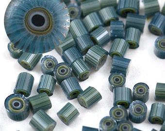 MARINA FOG - SRA Handmade Lampwork Murrini Chips for Glass Bead Artists by CCGlassArt - coe 104 millefiore - olive green slate grey blue