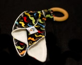 Maple Wooden Teething Ring and a Lil'Adi Lopsey Lovie- READY TO SHIP- Moustache