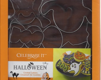 Halloween Cookie Cutters, Celebrate It. Candy Corns, Gravestone, Coffin Skulls Ghosts Boos Bats Cats Pumpkins Haunted Houses Witch Hats