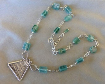 Roman Glass, Roman Glass Jewelry, Roman Glass Necklace, Ancient Roman Glass and Thai Silver Necklace, Gifts for Her