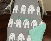 Baby Car seat Covers / Elephants in Gray with Mint Minky / boy / shower gift / animal
