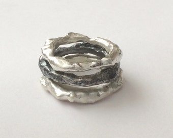Sterling Silver Organic Ring, Recycled Reticulated Silver, freeform, unisex shiny/matt/oxidised silver, stacking