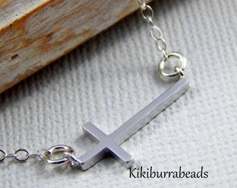 Silver Cross Necklace, Sideways cross necklace, sideways cross charm necklace, Layering necklace