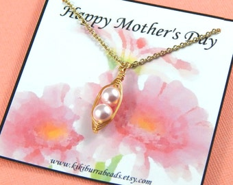 Mothers Necklace, Peas in a pod, two peas in a pod gold necklace, Mothers Day Gift