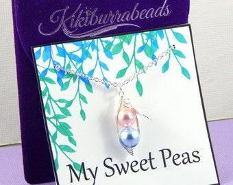 Peas In A Pod, Two Peas in a Pod Necklace, Silver Pea Pod Necklace, Mothers Necklace, Twins Necklace, Sisters Necklace, Best Friend Necklace