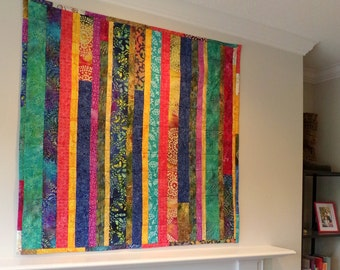 "Batik Baby Art Quilt Mother Earth or Wall Hanging 43.5""Wide x 45.25"" Long Boutique Art Patchwork  Baby Quilt Batik Cottons betrueoriginals"
