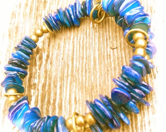 Blue shell and bronze coiled bracelet