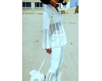INSTANT DOWNLOAD PDF Vintage Crochet Pattern   Lace Pants Trouser Suit Tunic Jacket Top  Retro  Plus Free Pattern