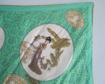 Vintage Gorgeous Chinese Silk Scarf with Geisha Print - 60s Jade Green Silk Scarf - Vintage 1960s Scarf