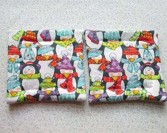 the most awesome penguin fabric set of 2 potholders hot pads