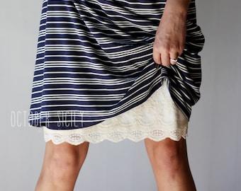 H2- Modest Opaque Lace Dress Extender HALF SLIP  *Style 2* size S-3XL