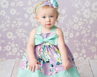 SALE-Girls Spring Dress- Lavender Lovely Bow Dress - by Melon Monkeys 2016 Spring Collection