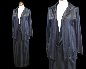 Original Vintage 1920s Black Satin Day Dress - small - FREE SHIPPING WORLDWIDE
