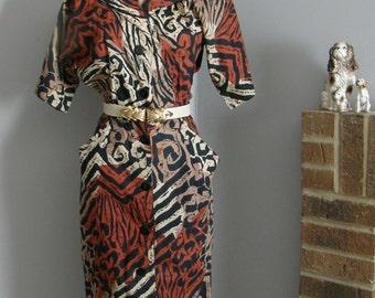 1980s animal print safari button down wiggle dress with pockets
