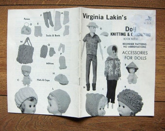 Vintage 1967 knitting Crochet patterns Virginia Lakin's DOLL ACCESSORIES no. 8