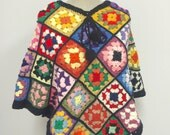 Crocheted Vintage Granny Square Poncho - Black Afghan Poncho - Colorful Crocheted Afghan Poncho - Pom-Pom Tassels - 1970's Poncho - 1960's P