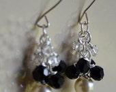chandeliers Black/Crystal/Cream Pearl Swarovski Pair of Earrings- Gift for her bridesmaid matron of honor wedding anniversary