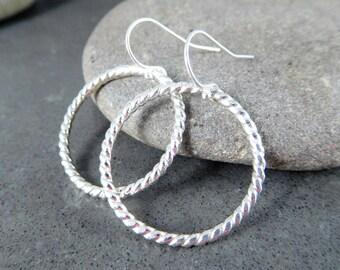Twisted Silver Hoop Earrings, 1 Inch Circle Dangle Earrings, Simple Everyday Jewelry, Sterling Silver Minimalist Jewelry, Ring Earrings