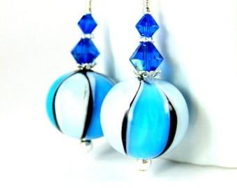Azure Light Blue & Black Striped Murano Glass Earrings, Round Drop Earrings, Pastel Earrings, Venetian Murano Earrings, Summer Jewelry