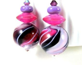 Purple Pink Large Round Glass Bead Dangle Earrings Dark Purple Fuchsia Pink Spiral Stripe Colorful Funky Earrings Statement Jewelry Lampwork