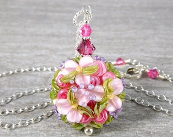 Pink Floral Necklace, Flower Jewelry, Romantic Jewelry, Pastel Glass Bead Necklace, Botanical Nature Necklace, Lampwork Pendant Necklace
