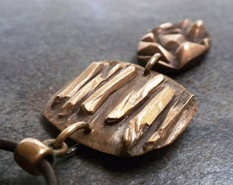 Ready to Ship Bohemian Jewelry Boho Necklace Long Abstract Bronze Crystal Pendant