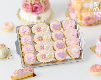 Light Pink-Themed Butter Cookies on Metal Baking Tray - 12th Scale Miniature Food (Pink Collection 2016)