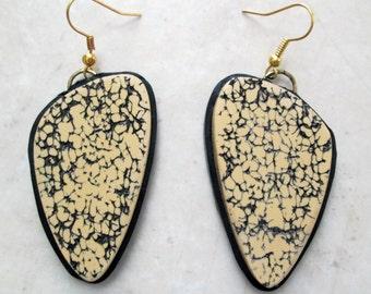 Polymer Clay Earrings, Textured Earrings, Ecru Earrings, Black Earrings, Jewelry, Handmade, Polymer Clay Earrings, Gift for her, Mom Gift