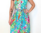 French vintage 1980s turquoise blue hawaiian floral dress with back cut-out - small medium S M
