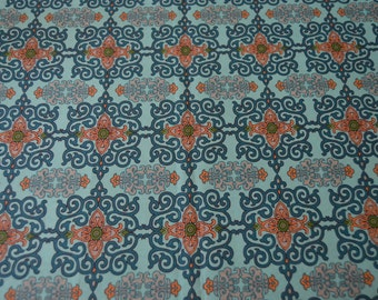 Asian Market Collection - Green & Peach Scrolls - 100% Cotton - 1/2 yard x 44 inches