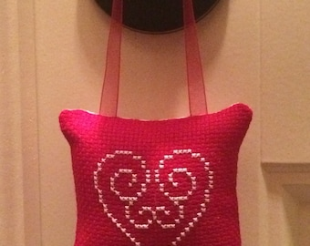 Heart Cross Stitched Hanging Pillow