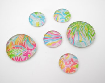tropical floral pattern magnet or push pin set - made from recycled magazines, stocking stuffer, hostess gift, graduation