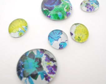 flower pattern magnet or push pin set - made from recycled magazines, stocking stuffer, hostess gift, graduation