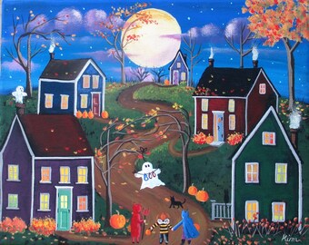 Halloween Folk Art Ghosts, Goblins and Ghouls Night ORIGINAL Painting FREE Shipping