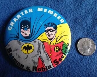 "Vintage, 1966, Batman and Robin Society, Charter Member Pin Back, 3.5"" Button, DC Comics"
