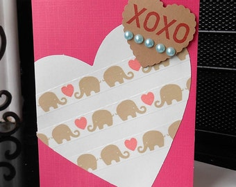 Elephant Love Card - Elephants with Hearts