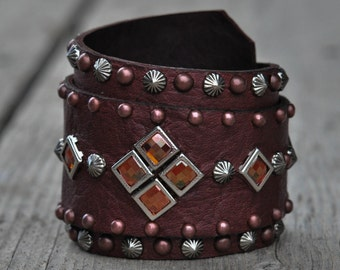 Wide Wrapped Cuff, Copper Chessboard Crystals & Studs