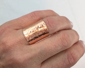 Cuff Ring - Wide band Ring - Copper Ring - Wide Copper Ring - Champagne Collection