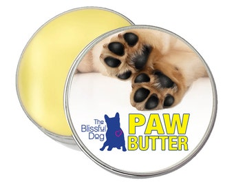 DOG PAW BUTTER All Natural Handcrafted Salve for Dry or Cracked, Rough Dog Paw Pads Big 8 oz. Tin with Paw on Label in Gift Bag