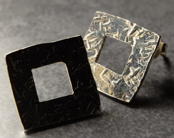 Textured Square Studs – Hollow Sterling Silver Hammered Geometric Stud Earrings