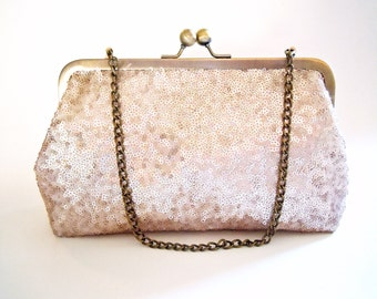 Blush Sequin Clutch, Wedding Clutch, Bridal Bag, Pink Champagne, Evening Bag, Bridesmaid Gift, Wristlet