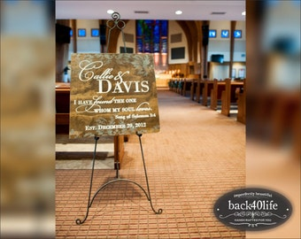 Callie and Davis (W-049a) - custom damask wedding sign - photo prop - engagement - reception decor - anniversary party