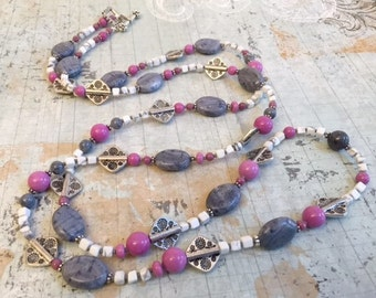 On Sale Grey, Pink, White Gemstone Necklace Earring Set, Jasper, Chalk Turquoise, Howlite