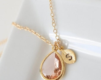 Bridesmaid Jewelry Set of 5 Peach Champagne Teardrop Gold Necklace with Stamped Initial