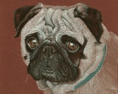 Pug Print from original gouache painting | Free Shipping